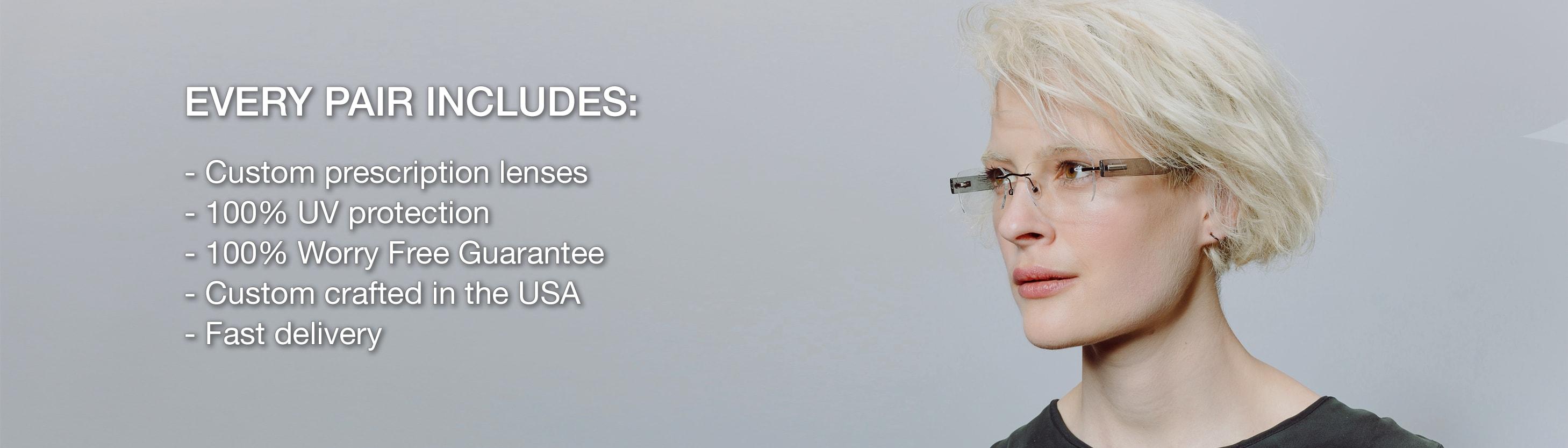 Blonde woman with short hair wearing rimless rectangle frame with plastic temples