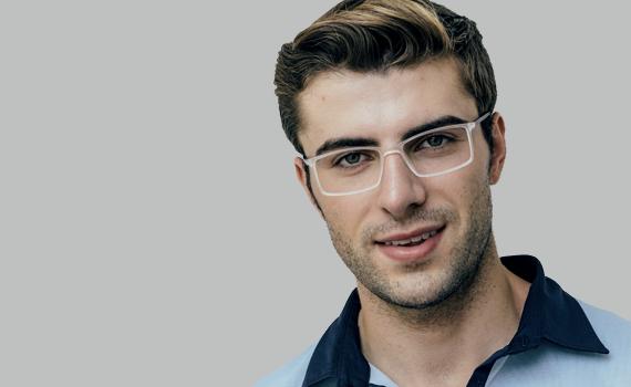 man wearing clear eyeglasses
