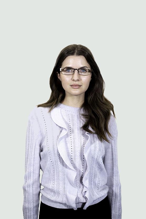 First model wearing Parker frames