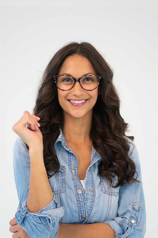 Second model wearing Marie Claire 6244 frames