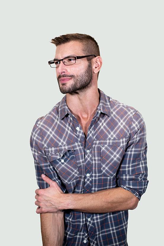 Second model wearing Parker frames