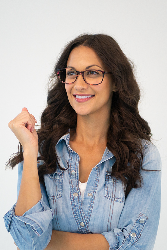 Second model wearing Marie Claire 6204 frames