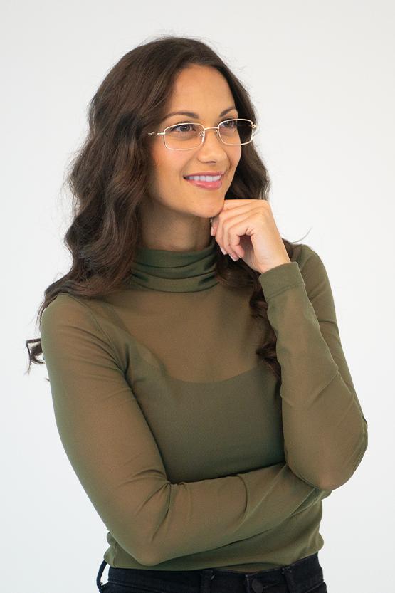 First model wearing Dallas frames
