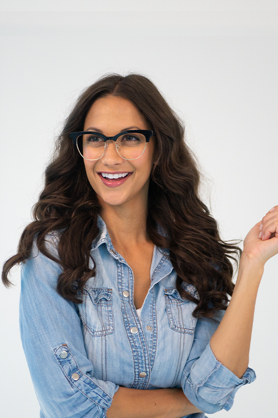 Second model wearing Marie Claire 6247 frames