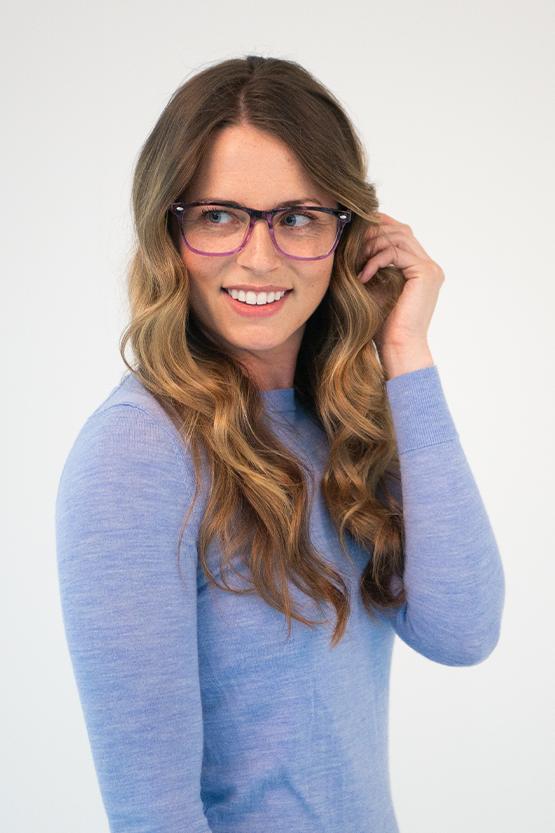 Second model wearing Nova frames