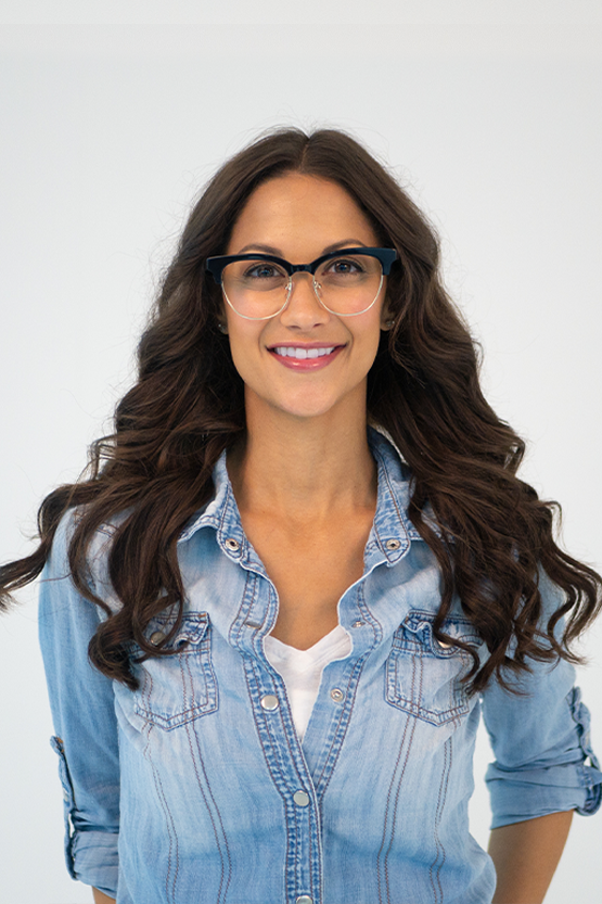 First model wearing Marie Claire 6247 frames