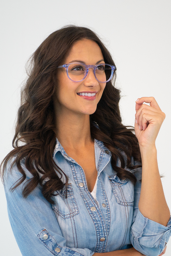 First model wearing Reese frames